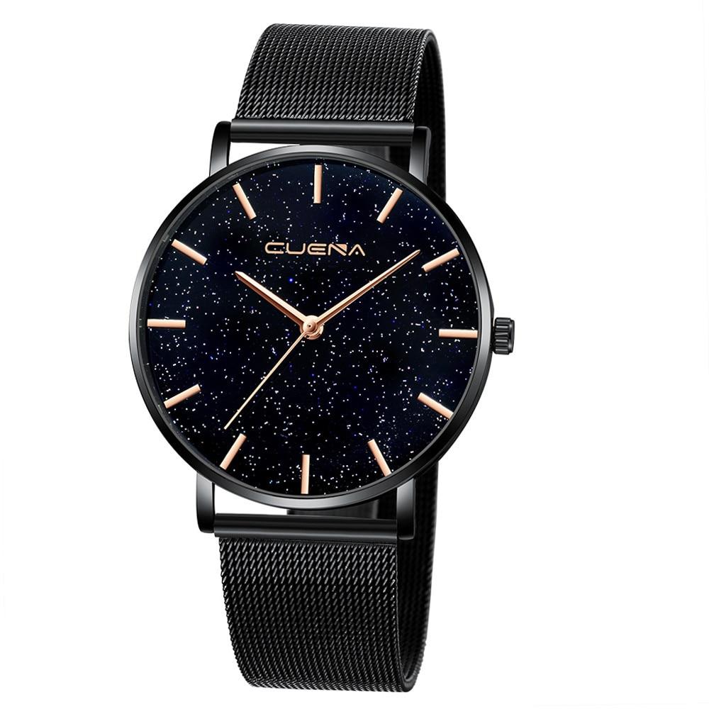 Женские часы, современная мода, черные кварцевые часы для женщин, сетчатый Браслет из нержавеющей стали, Премиум качество, повседневные наручные часы для женщин