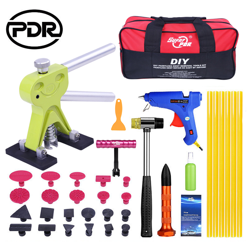 PDR Tool To Remove Dents Auto Tools Car Dent Repair Tool Set Repair Kit Car Dent Puller Hammer Suckers EU Glue Gun Tool Bag pdr tools to remove dents car dent repair paintelss dent removal puller kit lifter removal glue tabs fungi sucker hand tool set