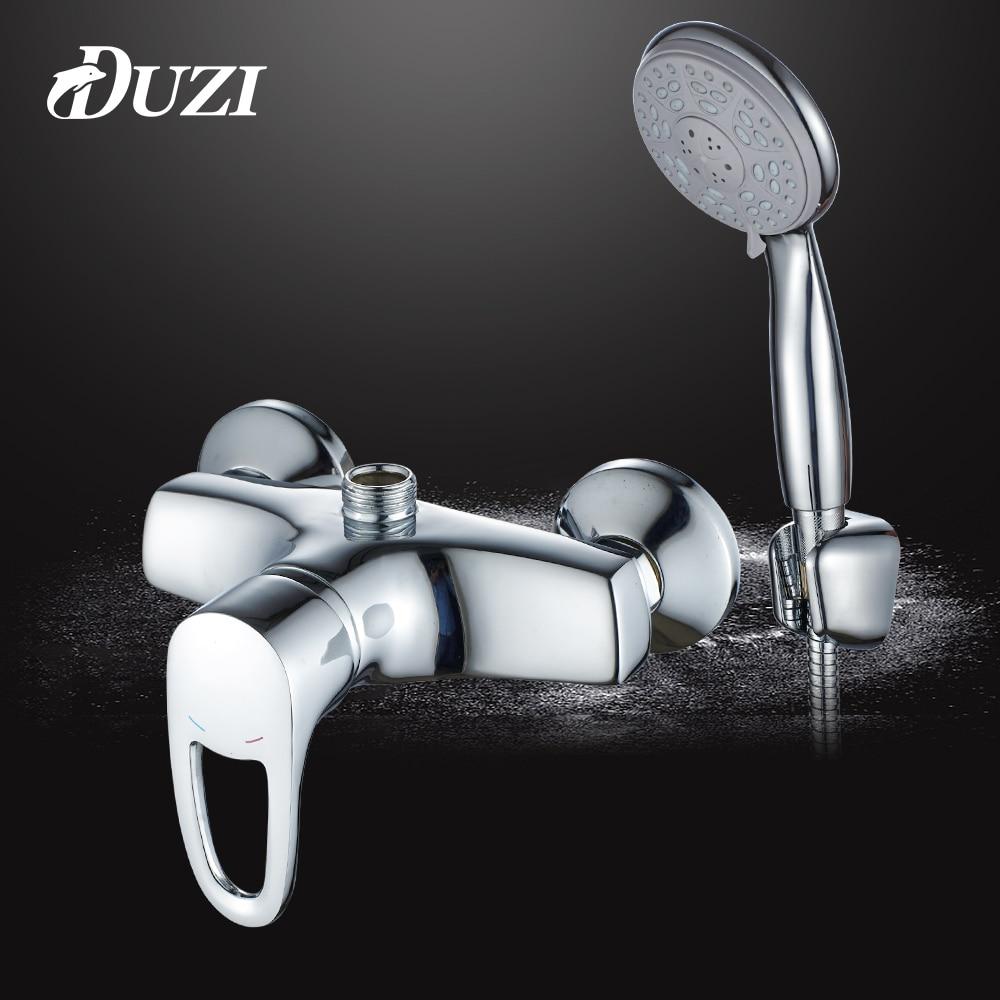DUZI Simple Set Bathroom Shower Faucets Bathtub Faucet Mixer Tap With Hand Shower Head Shower Faucet Sets Cold Hot Chrome D5133