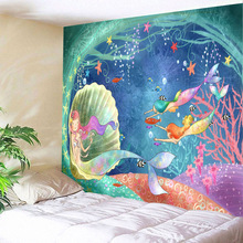 Mermaid Tapestry Wall Fabric Underwater World Hippie Mandala Hanging Bohemia Childrens Room Tapiz Decoration