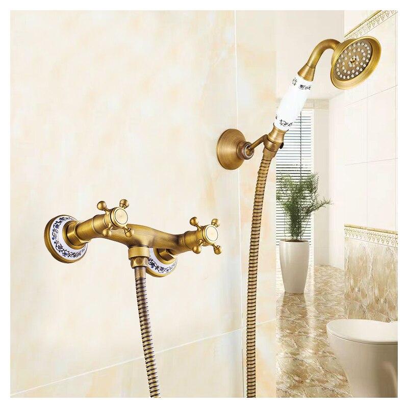 Ensemble de pommeau de douche en laiton Antique de cuivre tenu dans la main de salle de bains robinets de baignoire fixés au mur Kit de robinet de mélangeur de douche Style européen classique