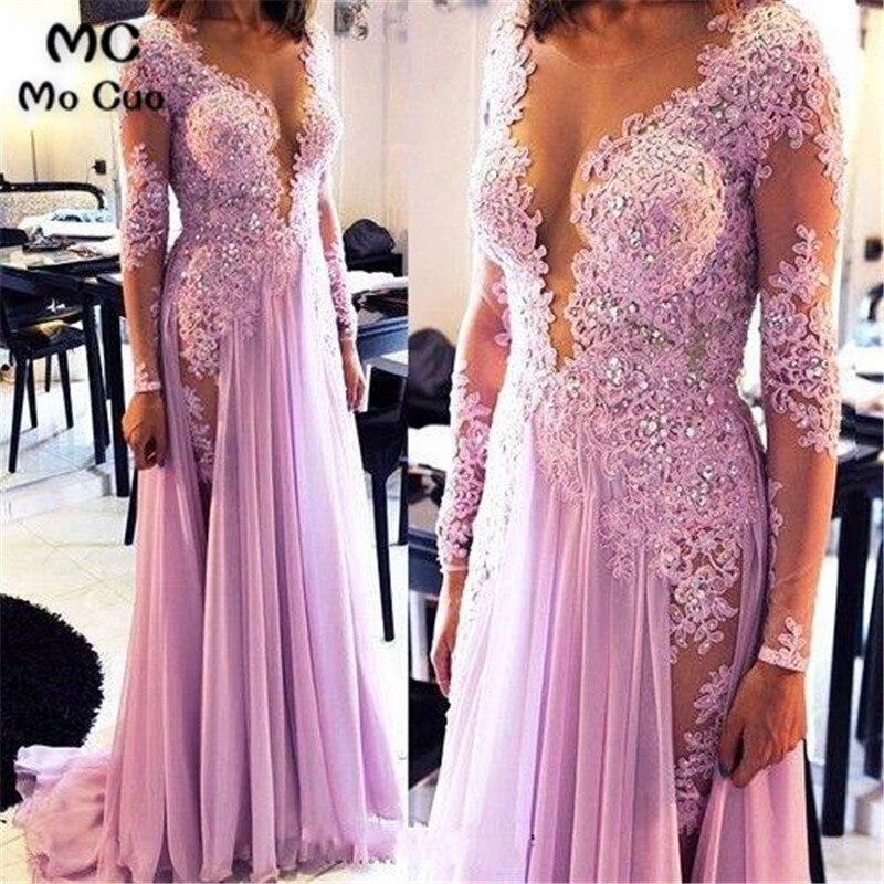 2018 Long Sleeve   Evening     Dresses   Long vestidos de fiesta vestido de festa longo Deep V-Neck Appliques Beaded Women   Evening     Dress