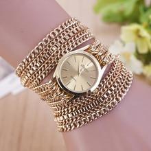 2017 Caliente nueva pulsera de moda clásico retro reloj 18 k oro plantado cadena con estilo de la alta calidad mujeres de las señoras vestido de pulsera reloj