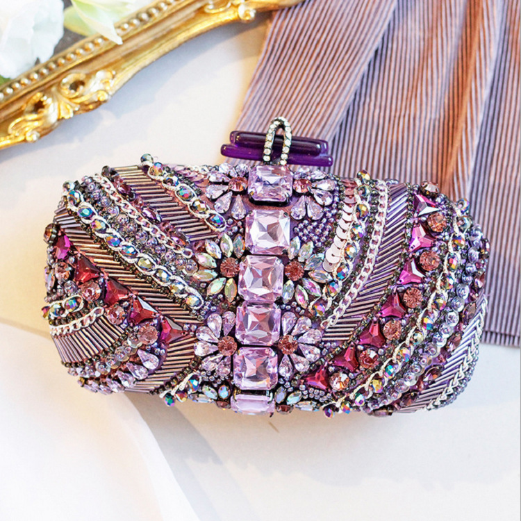 Women's Shining Clutch with Bling Diamonds for Wedding and Party, Evening Bag with Detachable Chain