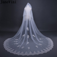 JaneVini Elegant Long Veil Cathedral Ivory Wedding Veils with Combs Applique Edge Sequins Tulle Bridal Veils Wedding Accessories