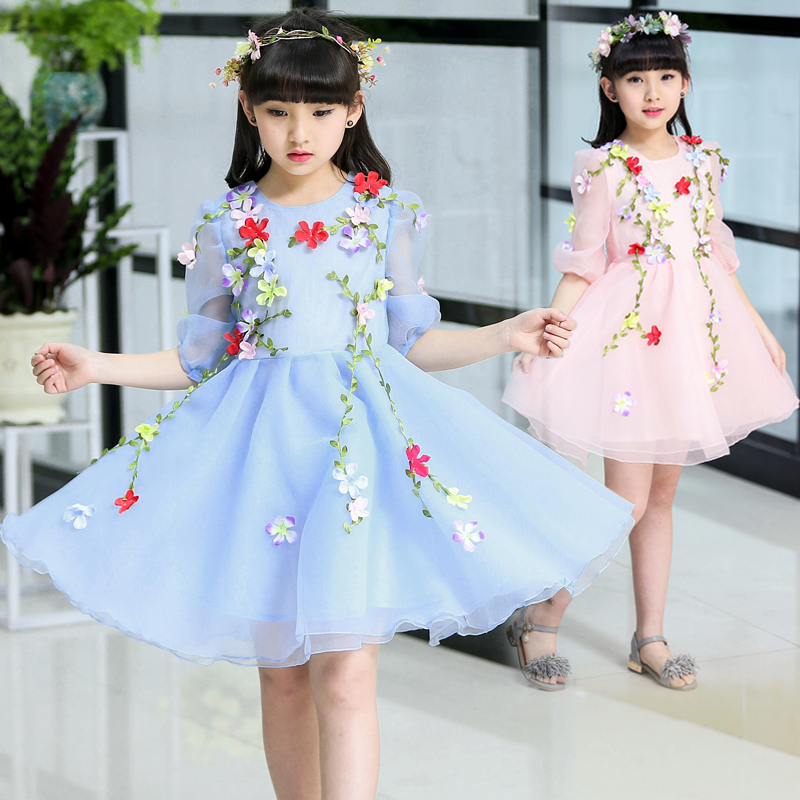 korean kids clothes children princess dress summer baby mesh floral dresses for girls of 2 3 4 5 6 7 8 9 10 11 12 years old baby lace princess dress girls summer 2017 korean version of the new kids children gauze qz 3305