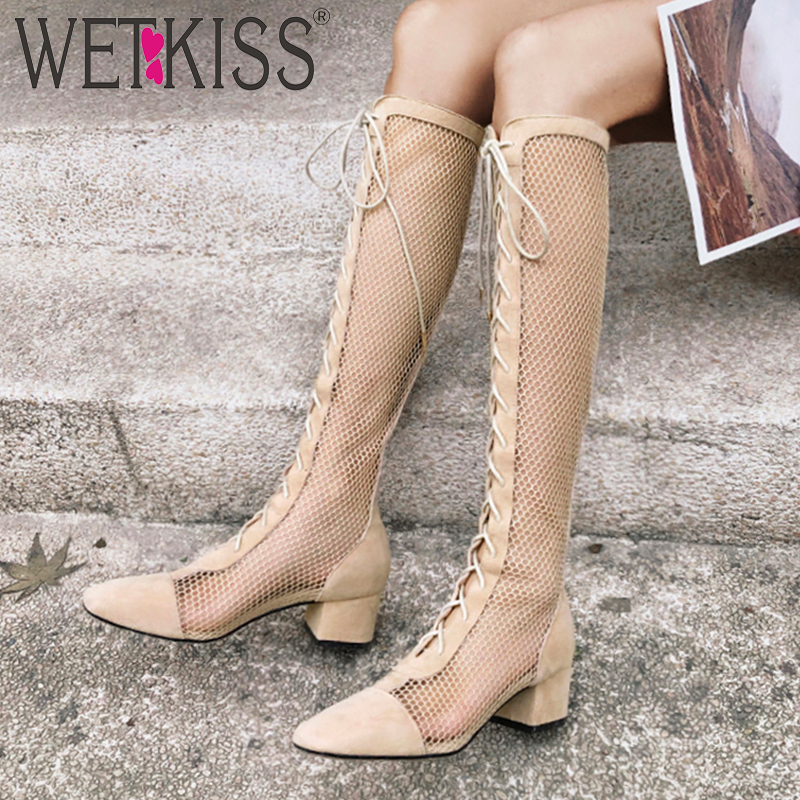 WETKISS Kid Suede Boots Mesh Women Summer Boots Med Heels Cross Tied Shoes Female Square Toe
