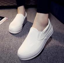 2016 Bas Dames Toile Chaussures Plate-Forme 2 cm Plat Chaussures Slip sur Casual Solide Femme Loisirs Chaussures Femmes Hiver Mode Casual chaussures