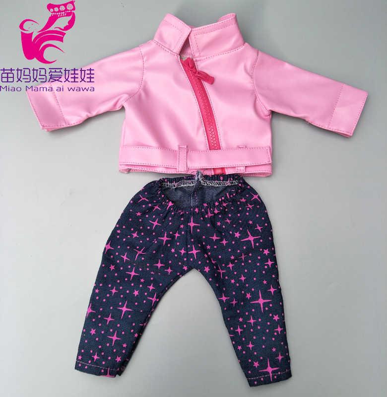 Zíperes roupas de boneca para 43 centímetros Bebê nascido boneca roupas de boneca de couro PU jaqueta para 17 polegada 38 centímetros bebe boneca roupas de inverno casaco