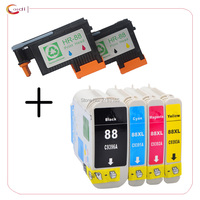 Compatible 2 Pack HP 88 Printhead C9381A C9382A Print head + Officejet 7400 L7480 500 K5400 K550 5400 Printer ink cartridge
