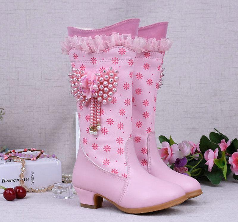 2018 Fashion Girls Winter Snow High Boots Dzieci PU Leather Boots - Obuwie dziecięce - Zdjęcie 2