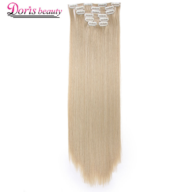 Clips Blonde-Hair Synthetic-Hair-Extensions Brown Black Straight Long in Doris Beauty
