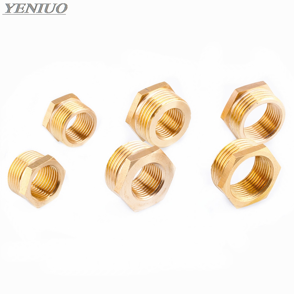 Brass Hose Fitting Hex Reducer Bushing M F 1 8 quot 1 4 quot 3 8 quot 1 2 quot 3 4 quot BSP Male to Female change Coupler Connector Adapter in Pipe Fittings from Home Improvement