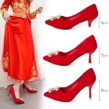 2019 hot fashion rhinestone pearl high heel lady pointed crystal party sexy wedding shoes womens