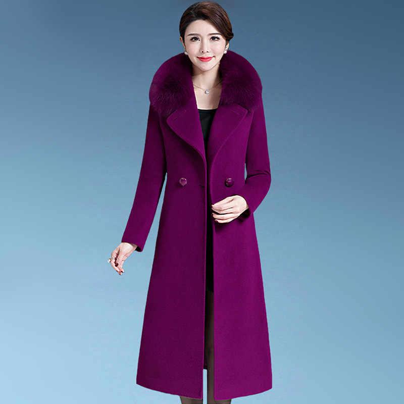 M-4XL, Женское шерстяное пальто, Осень-зима 2019, модное плотное шерстяное пальто с меховым воротником для мамы, лисы, длинная верхняя одежда, женские топы
