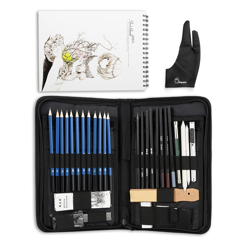 H&B 32/40 Pieces Art Supplies Sketch Tool Set with Graphite Pencils, Pastel Pencils, Paper Erasable Pen and Zippered Carry CaseH&B 32/40 Pieces Art Supplies Sketch Tool Set with Graphite Pencils, Pastel Pencils, Paper Erasable Pen and Zippered Carry Case