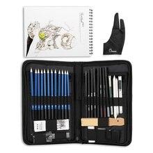 H & B 32/40 adet sanat malzemeleri kroki aracı seti grafit kalemler, Pastel kalemler, kağıt silinebilir kalem ve fermuarlı taşıma çantası