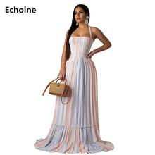 купить Striped Print Spaghetti  Strap Maxi Dress Lace Up Ruffle Elagant Party Long Dress Sexy Beach Dress Femme Robe Summer Vestidos по цене 1244.73 рублей