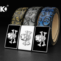 K High Quality Designer Belts For Men Skull Personality Buckle Blue White Black Cinto Masculino Ceinture