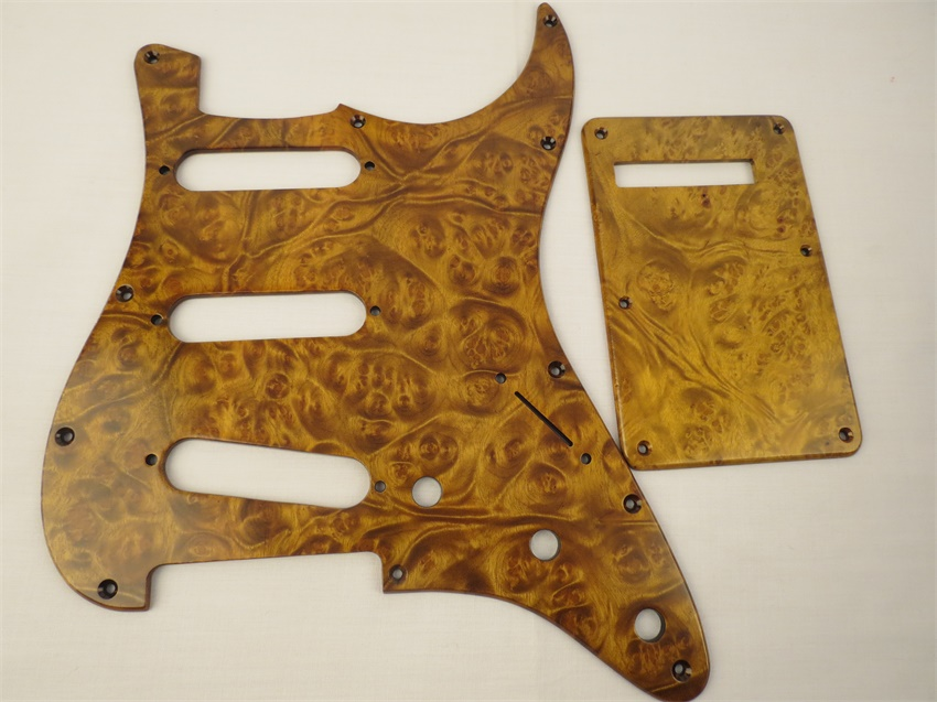 NEW 1SET SSS Pickguard & Backplate & Screws bird's eye wood for FD ST Style Guitar