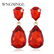 WNGMNGL Fashion Nickle Free Red Green White Water Drop Crystal Earrings Bridal Wedding Jewelry for Women Wholesale