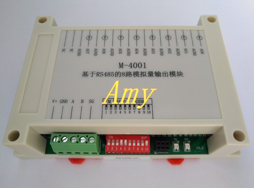 8 Way 4~20mA Analog Output Module RS485-Modbus Communication Board PLC Expand IO Acquisition Device