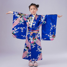 Blue Japanese Baby Girl Kimono Dress With Obi Traditional Yukata Child Stage Performance Dance Dress Kid Cosplay Costume NK024