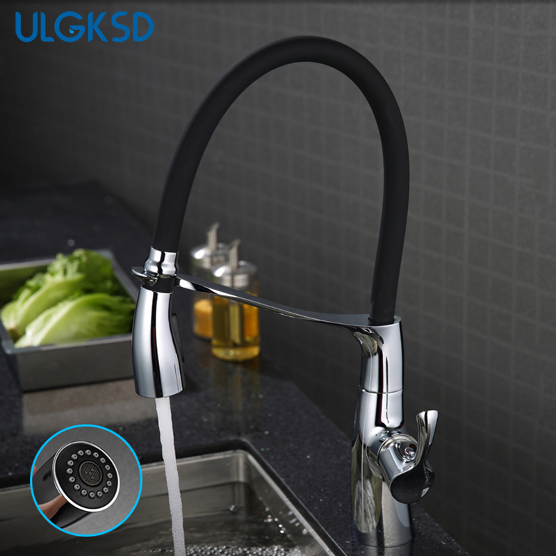 Ulgksd Kitchen Faucet Pull Down Sprayer Chrome Brass Sink Faucet Single Handle Hole Two Types Outlet Water Mixer Tap deck mount single handle kitchen faucet one handle chrome brass kitchen sink mixer tap dual sprayer functions
