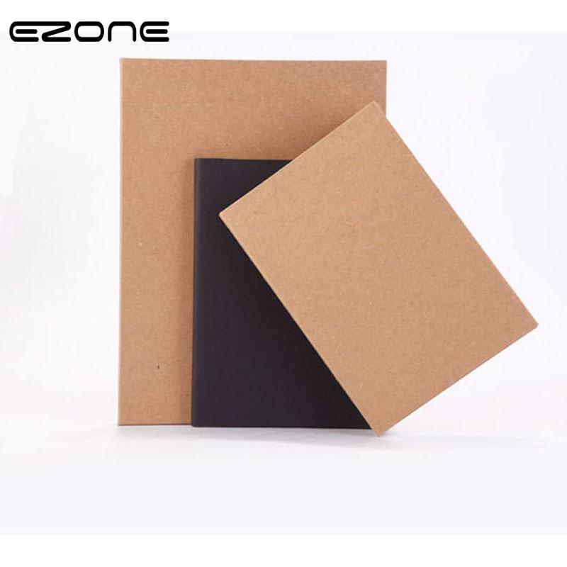 EZONE A5 Notebook Kraft/Black Cardboard Note Book Dot/Grid/Blank/Line Sketchbook Diary Drawing Graffiti Painting Stationery