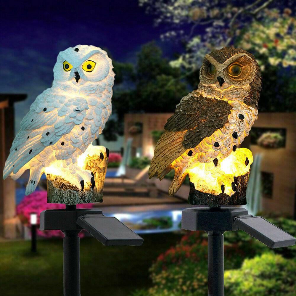 Solar Power LED Owl Light Garden Yard Decor Bird Outdoor Statue Lamp FUL