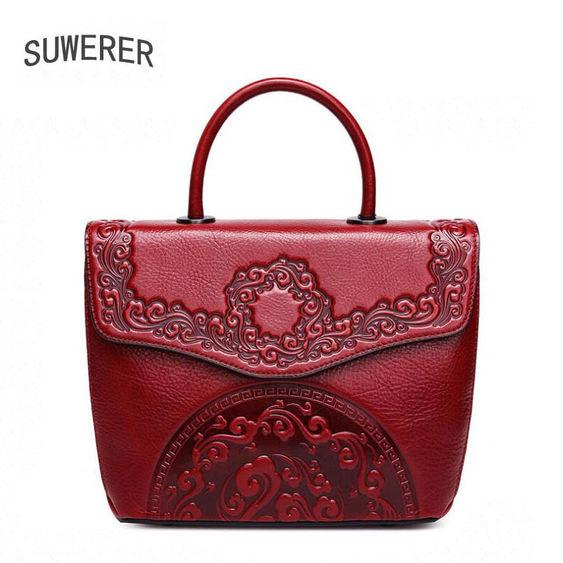 2019 luxury handbags women bags designer Superior Cowhide Genuine Leather Tote Women Handbags Embossed Flower Luxury Bag
