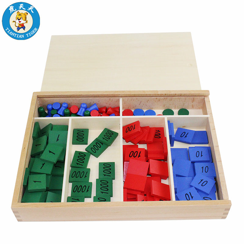 Baby Montessori Mathematics Learning Educational Wooden Toys Family Stamp Game