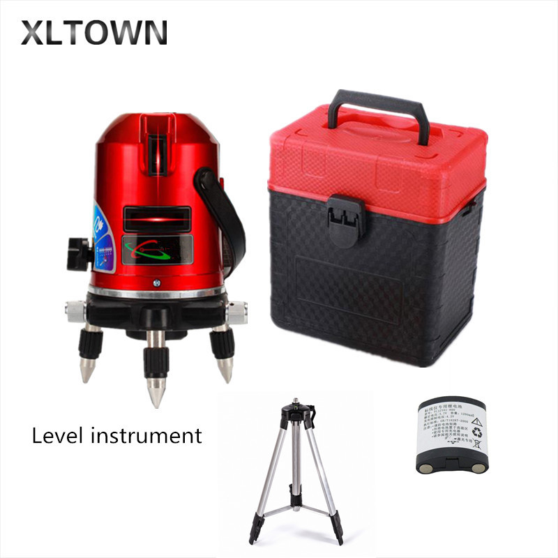 Xltown 5Lines 6points lithium battery Laser Level Self-Leveling 360 rotary Cross Line Lazer Level slash function tripod level quality mtian level laser 5 lines 6 points instrument levels 360 self rotary 635nm corss line lazer level tools fast delivery