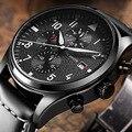 OCHSTIN Marca Nova Moda Casual Homem Cronógrafo Masculino Relógio Militar Do Exército Do Esporte Cinta Leater Luxo Elegante Relógio de Pulso de Quartzo