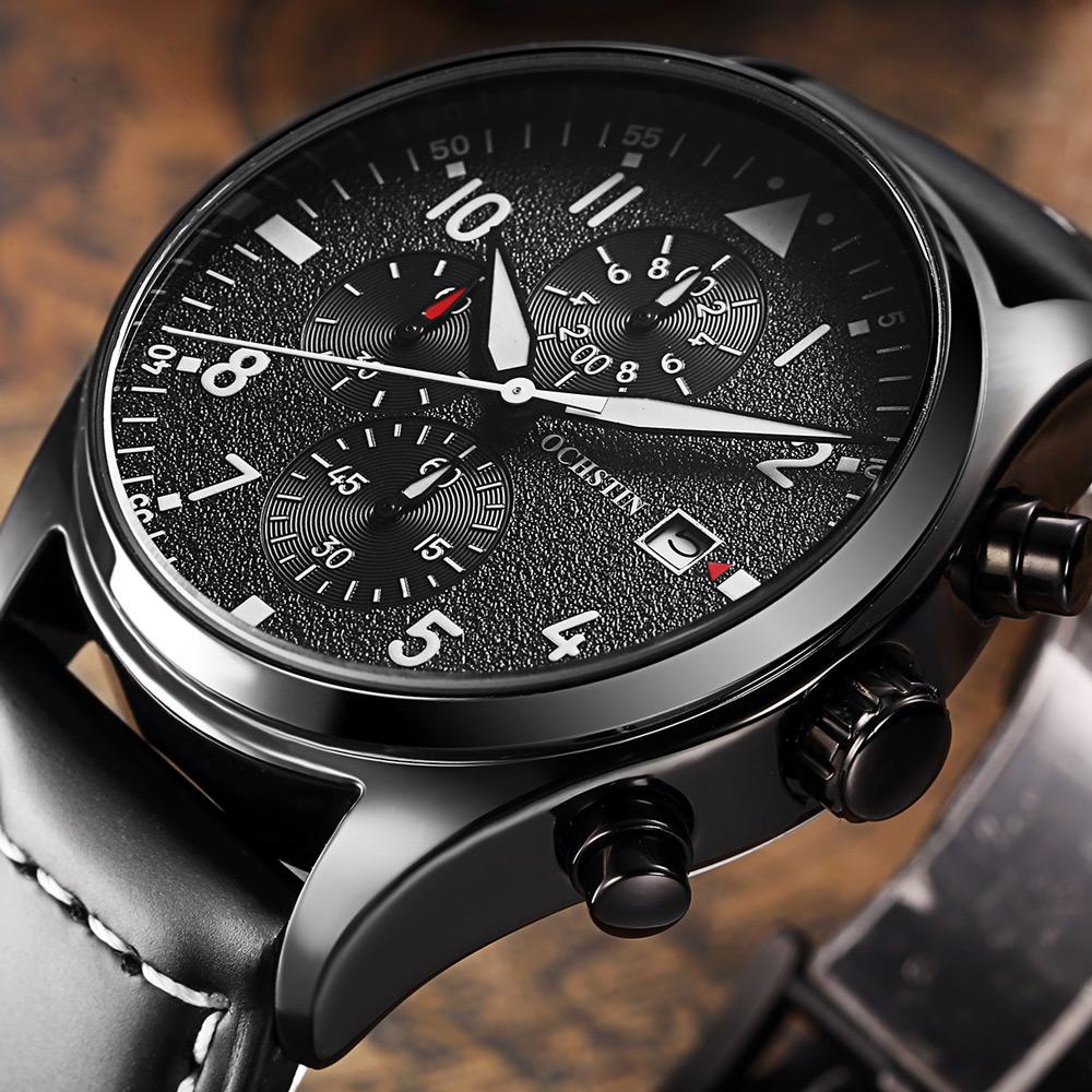 Prix pour Ochstin marque nouvelle mode casual homme mâle chronographe horloge militaire armée sport leater sangle de luxe élégant poignet quartz montre