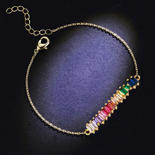 Fashion Rainbow Baguetee CZ Colorful Micro Paved Clear Zircon Bracelets Open Cuff Adjust Size Women Luxury Charm Jewelry