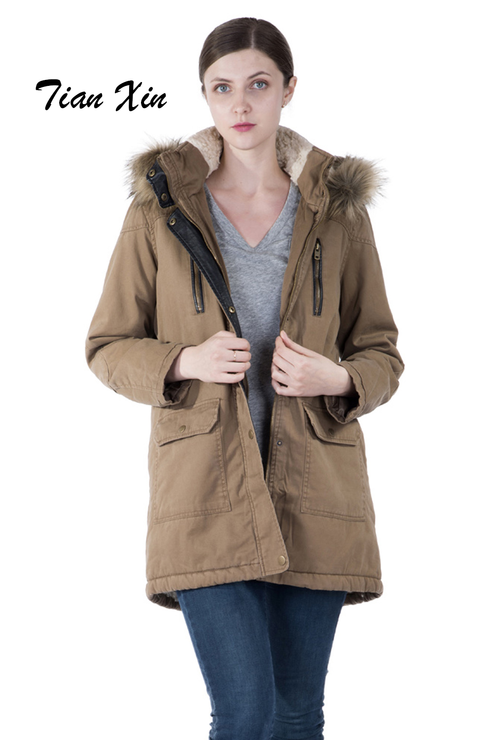 Women Winter Outwear Coat Hooded Fleece Lined Zipper Hooded Parka Flap Pocket Long Sleeves Cotton Parka hooded checked borg lined coat