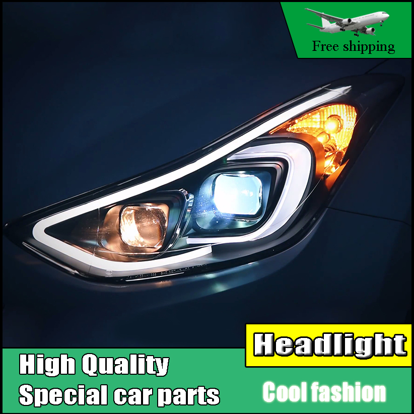 Car Styling Head Lamp Case For Hyundai ELANTRA 2012-2016 Headlights LED Headlight DRL High Low Bi-Xenon Lens Low Beam With HID hireno headlamp for 2004 10 hyundai elantra headlight headlight assembly led drl angel lens double beam hid xenon 2pcs