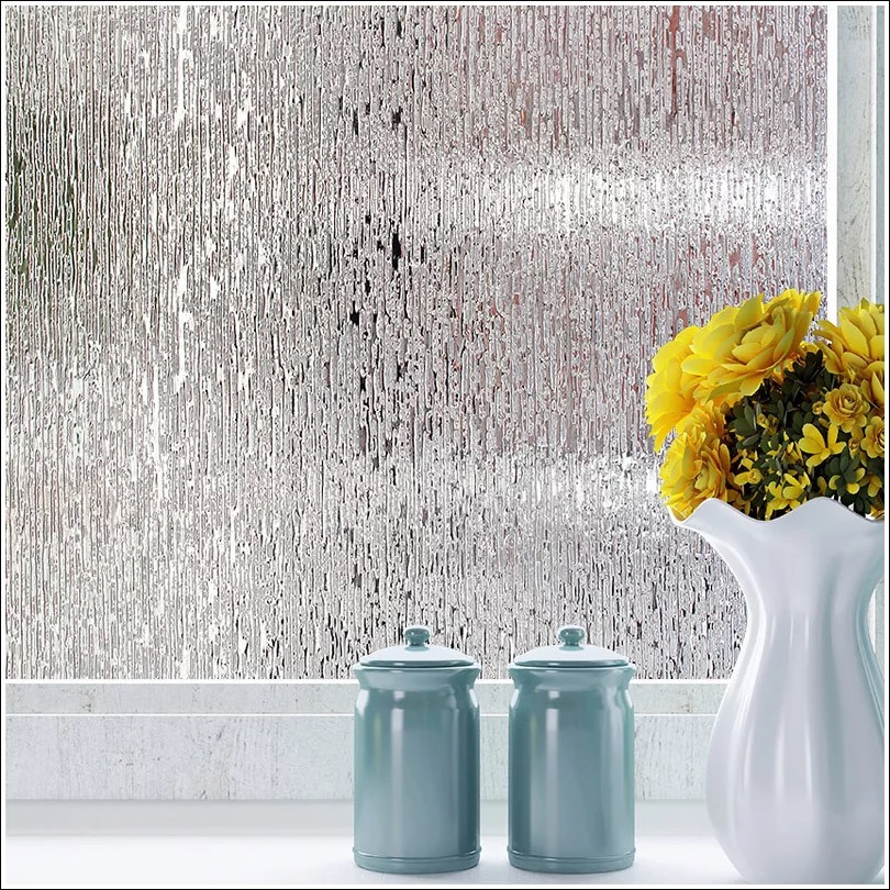 Rain Glass Window Film Static Cling Opaque Frosted Glass Sticker Privacy thickened decorative no Adhesive glass film width 45cm in Decorative Films from Home Garden