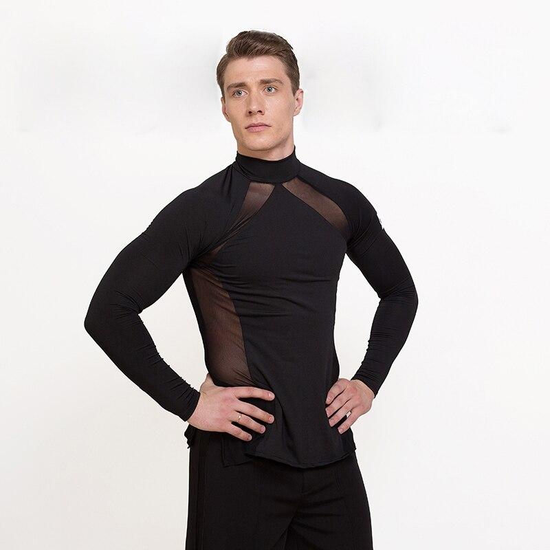 New High Quality Black Men Ballroom Latin Dance Tops For Sale Cha Cha Rumba Long Sleeves