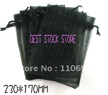 Wholesale LARGE BIG Plain Black ORGANZA Jewelry Gift Packing Bags 23*17cm  Bulk 7*9 inch Wedding VOILE Favours Pouches