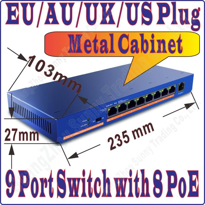 Prix pour FreeShip 9 port 8 commutateur poe Ieee 802.3af à PoE costume pour toutes sortes de poe caméra ou AP gros Réseau Commutateurs Plug & Play de bal-