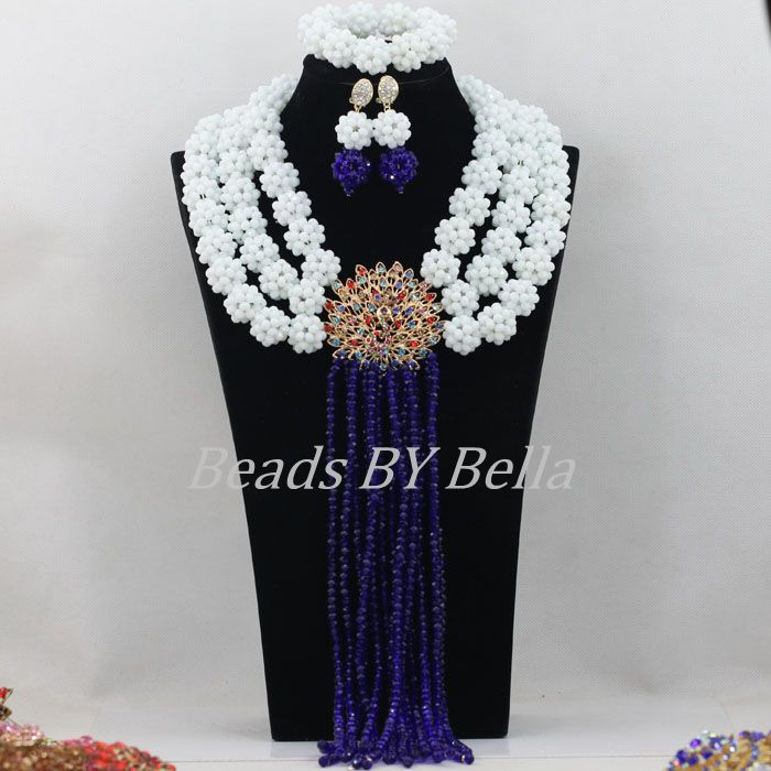 Opaque White Crystal Beads Balls Necklace Royal Blue Nigerian Wedding Hot African Beads Bridal Jewelry Sets Free Shipping ABF320