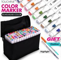 Touchfive 30 40 60 80 168Color Art Marker Pen Oily Alcoholic Dual Headed Artist Sketch Markers