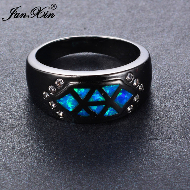 51d54f845d JUNXIN Simple Design Women Men Ocean Blue Fire Opal Ring Black Gold Filled  Wedding Party Promise Ring Anillos Fashion Jewelry