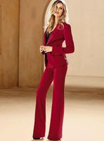 Jacket+Pants Red Women Business Suits Formal Office Suits Work Female Trouser Suit Single Breasted 2 Piece Set Custom Made W16