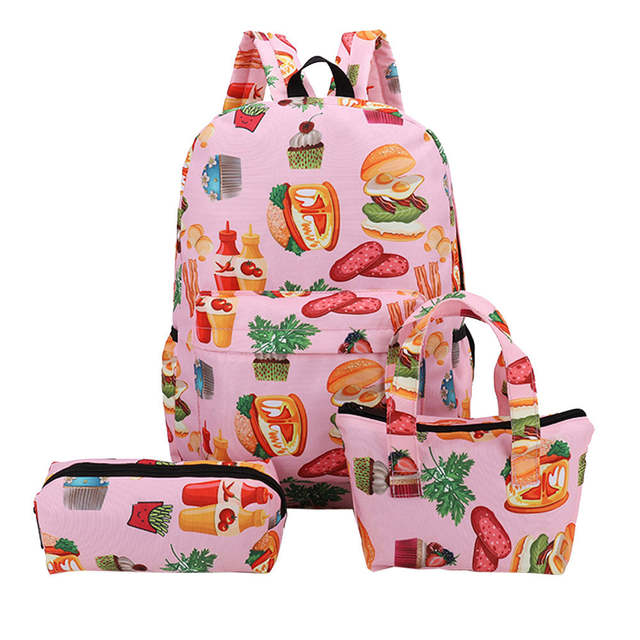 fb832c0617cb 3 Pcs/set Women School Backpacks 2018 Canvas Backpack Schoolbag For  Teenagers woman Student Book Bag #PH