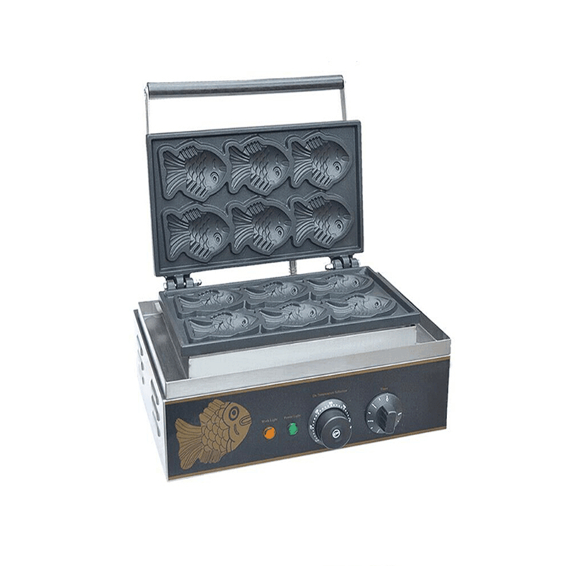 110V 220V 6pcs Fish Cakes Machine Commercial Electric Fish Shaped Cake Machine Ice Cream Taiyaki Waffle Maker EU/US/AU/BS Plug taiyaki fish maffle maker waffle ice cream machine