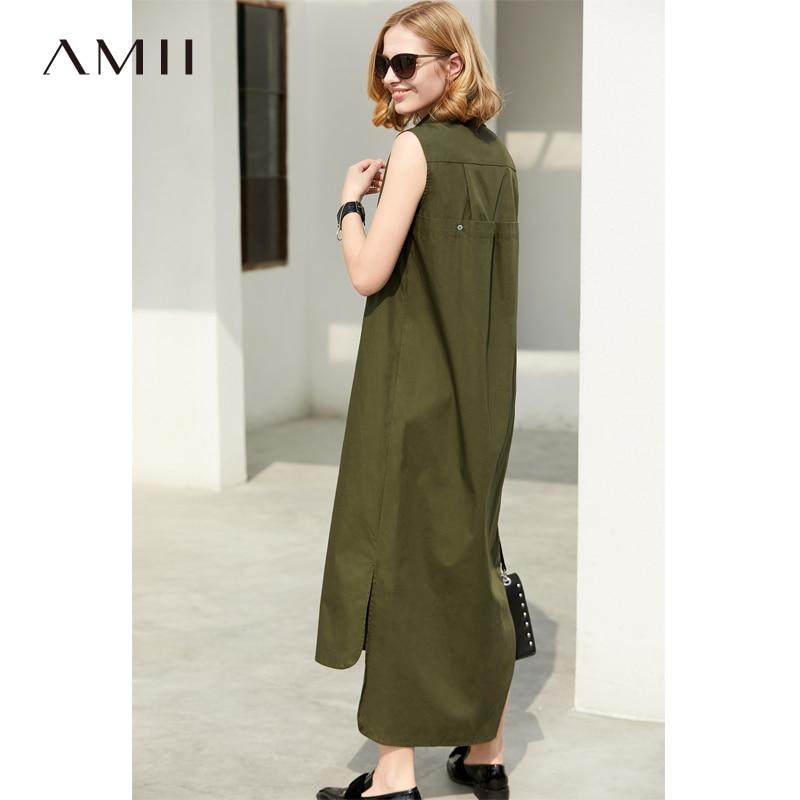 Amii Women Minimalist 2018 Summer Maxi Dress Office Lady Sleeveless Turn-down Collar Female Long Dresses Plus Size