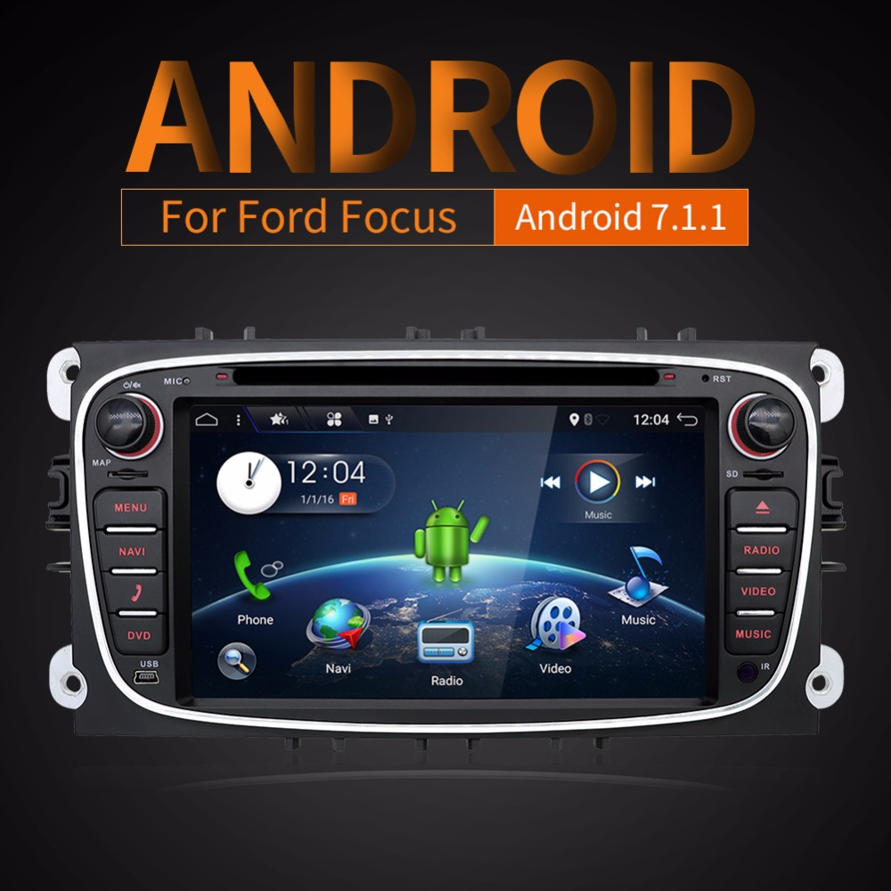 2 Din 7Android 7.1.1 Quad Core Car DVD Player DAB WiFi 4G Canbus Online Maps GPS Navigator for Ford Focus II Mondeo S-Max
